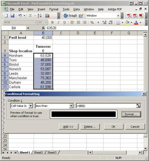 Peril-sensitive formatting in Excel