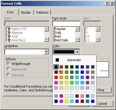 Peril-sensitive formatting in Excel - black font colour