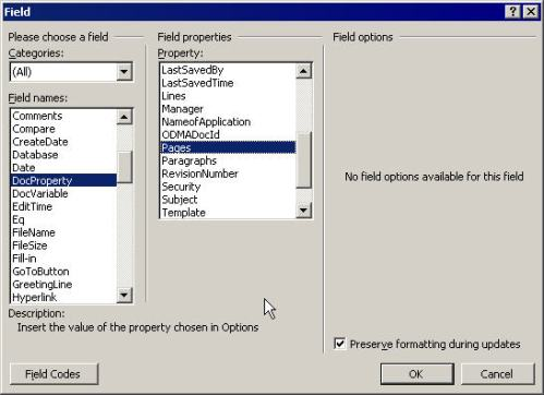 Word pages property field