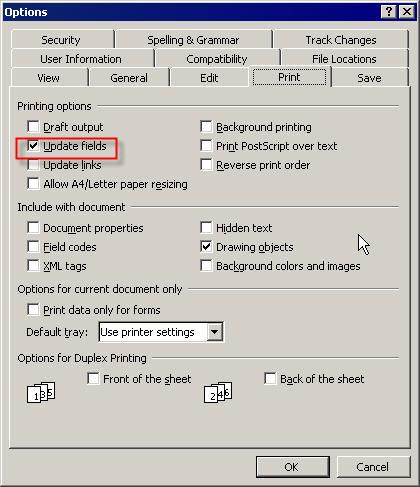 Update fields option