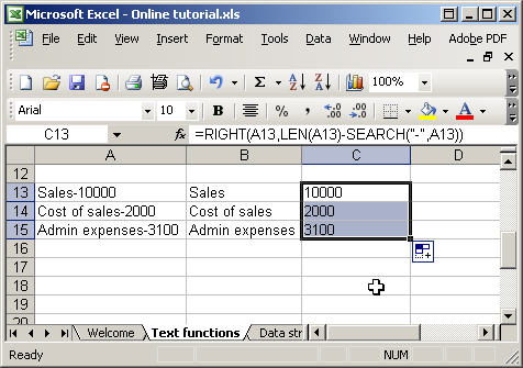 Excel text functions - search and len
