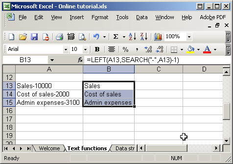 Excel text functions - search