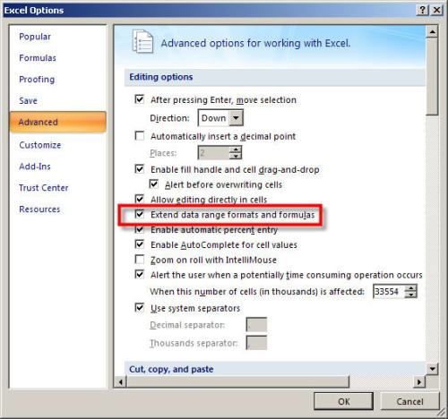 Extend list formats and formulas option -2007