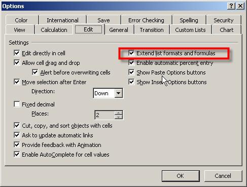 Extend list formats and formulas option