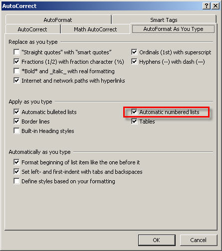 AutoFormat as you type dialog