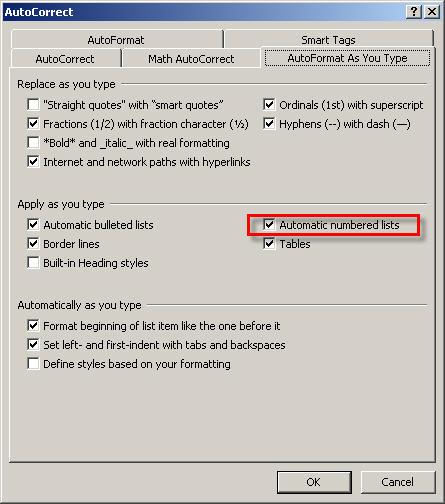 AutoFormat as you type dialog